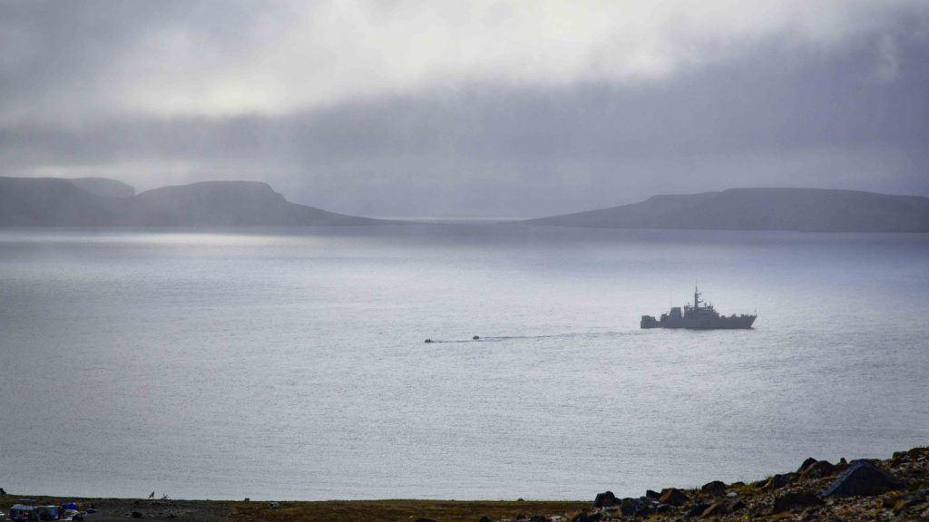 HMCS YELLOWKNIFE at Anchor in Ulukhaktuk
